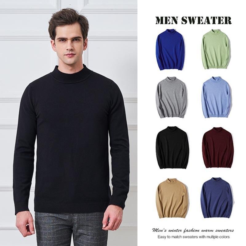 New Men's Half Turtleneck Sweater Casual Knitwear Lapel Sleeve Slim Men's Solid Color Bottoming Shirt Men