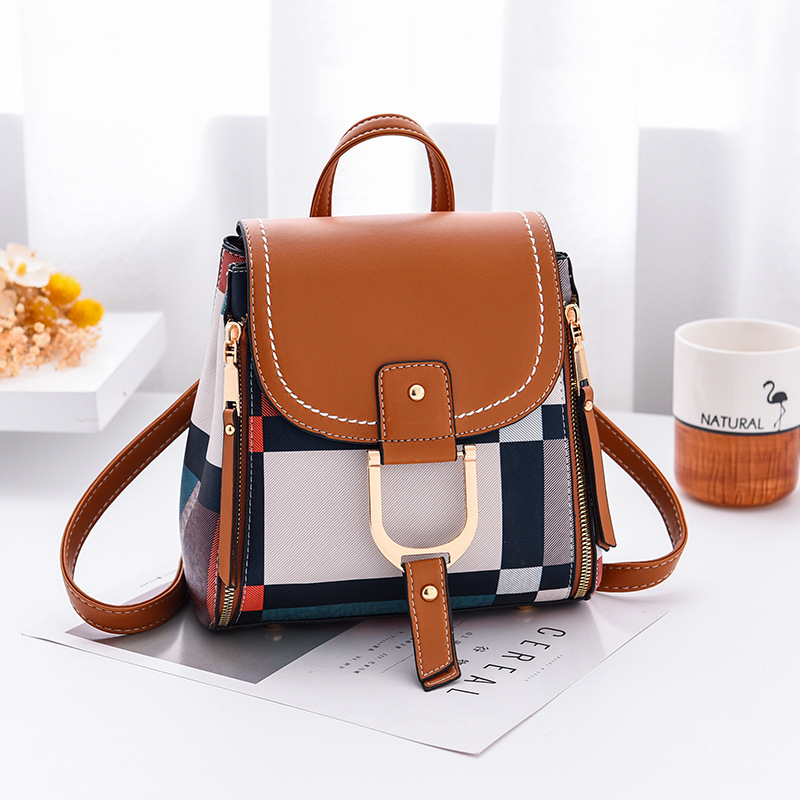 Women Backpack with Free Gift Multiple Using Women Grid Backpacks Female School Bag Girls Travel Bag Purse Free Shipping(China)