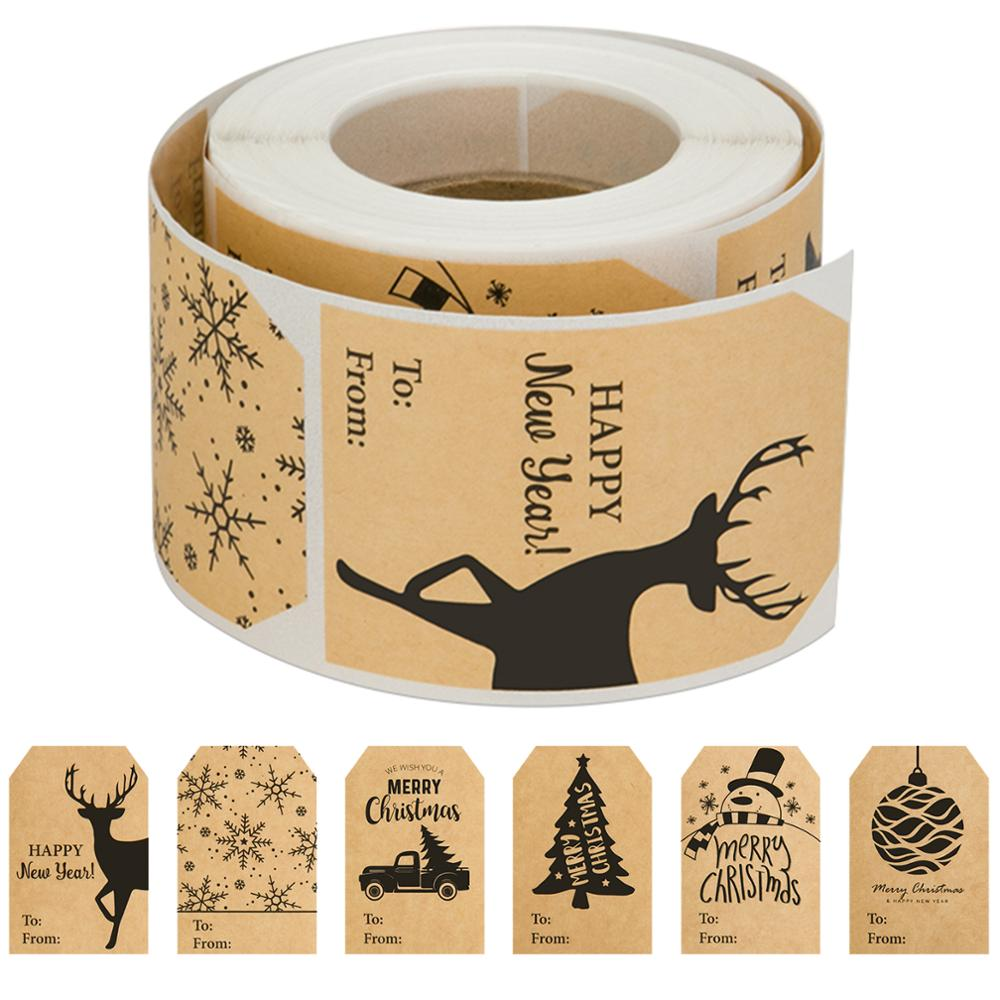 150 Pcs 1 Roll Of 6 Christmas Style Kraft Paper Stickers Used As A Christmas Gift To Decorate Office Or Stationery Decoration