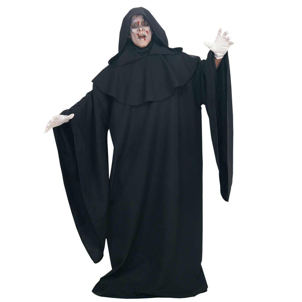 Новые карнавальные костюмы на Хэллоуин для взрослых Для мужчин Платье для косплея темное зло духи черный Халат Crazy волшебников демон этап вечерние костюмы для выступлений; танцевальная одежда