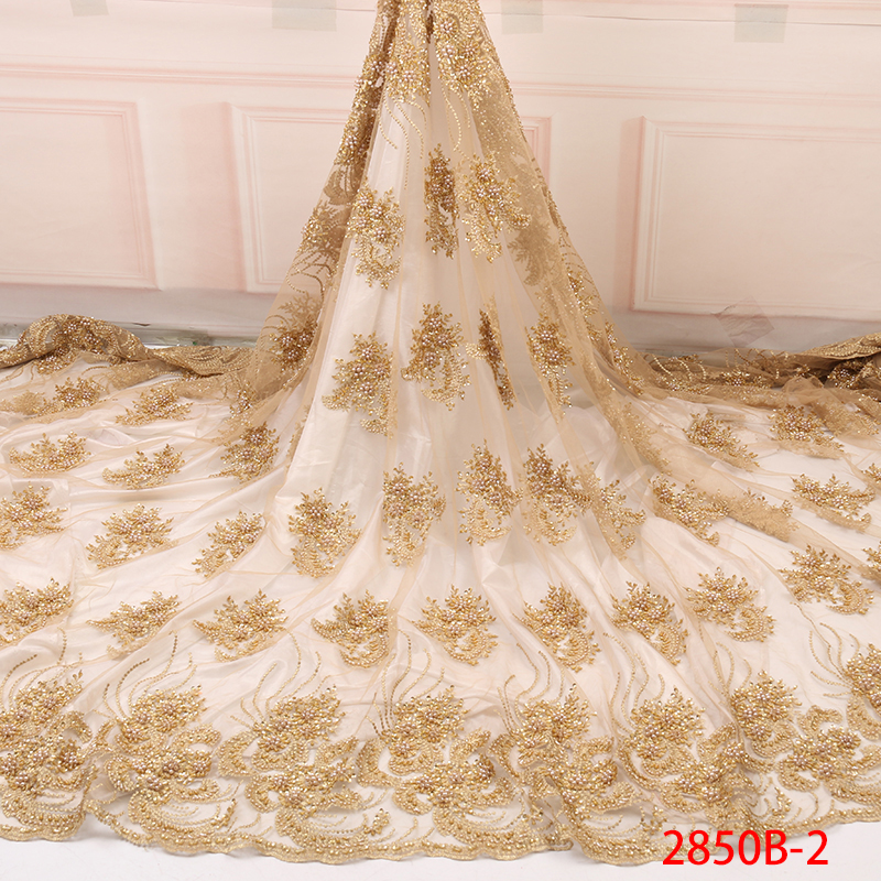 African Lace Fabric Luxury African Embroidery 3D Handmade Beaded Pearls Tulle Lace Fabric With Rhinestones For Wedding YA2850B-2