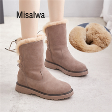 Misalwa Warm Winter Women Snow Boots Russian Cow Suede Round Toe Casual Female Boots Elevator 5 CM Furry Ankle Non-slip Boots цена