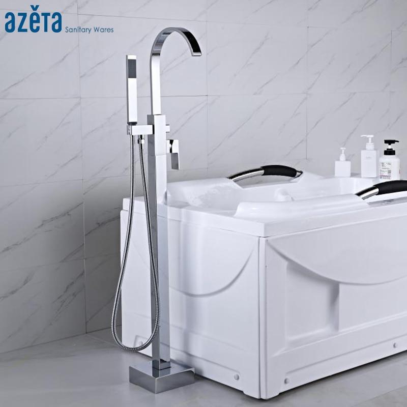Azeta Bathroom Floor Stand Bathtub Faucet With Hand Shower Bathroom Single Handle Bathtub Mixer Tap AT2211