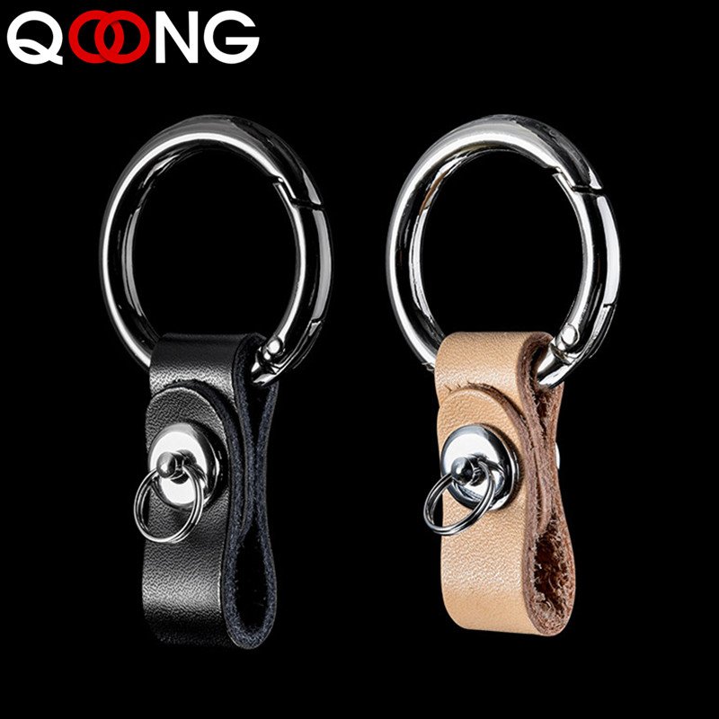 QOONG Genuine Leather Hand Woven Keychain Metal key Rings Chains Customize Personalized Gifts Car Key Holder For Auto Keyring in Key Chains from Jewelry Accessories