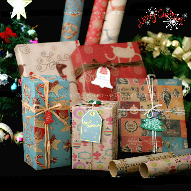 10pcs Christmas Gift Wrapping Papers Kraft Papers New Year Gift Box Packaging Material Craft Papers Xmas Home Decoration Craft Paper Aliexpress