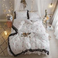 White Red Princess style Korean Bedding Set Cotton Lace Full Queen King Size Bed skirt Duvet Cover set Pillowcases For Girls