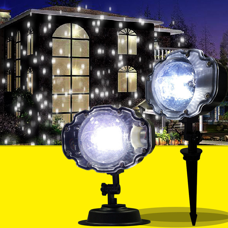 2019 New Moving Snowflake Lights White Christmas Projector Lights LED Landscape Projection Indoor Outdoor Spotlights Decor Stage