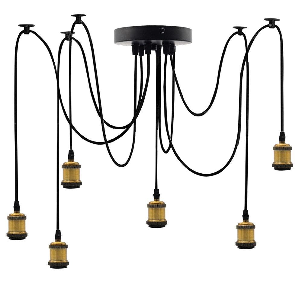 Sub-Six Metal Retro Decoration Lamp Holder LED Bulb Europe And America Modern Art Chandelier Lamp Holder E27 Edison Screw