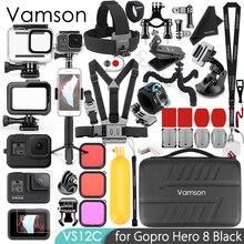 Vamson עבור Gopro גיבור 8 שחור אביזרי ערכת סופר סט עמיד למים דיור מקרה חצובה הר חדרגל עבור ללכת פרו גיבור 8 VS12