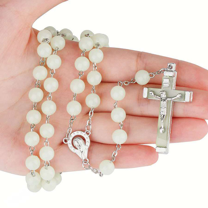 Религиозная люминесценция 8 мм четки крест изогнутая игла ожерелье