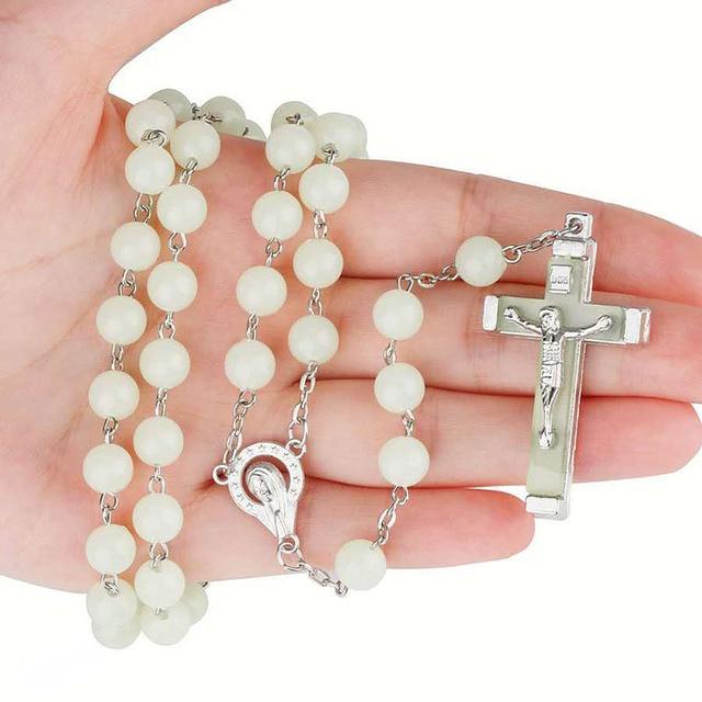 Фото религиозная люминесценция 8 мм четки крест изогнутая игла ожерелье