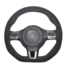 цена на Hand Sew Black Suede Car Steering Wheel Cover for Volkswagen Golf 6 GTI MK6 VW Polo GTI Scirocco R Passat CC R-Line 2010