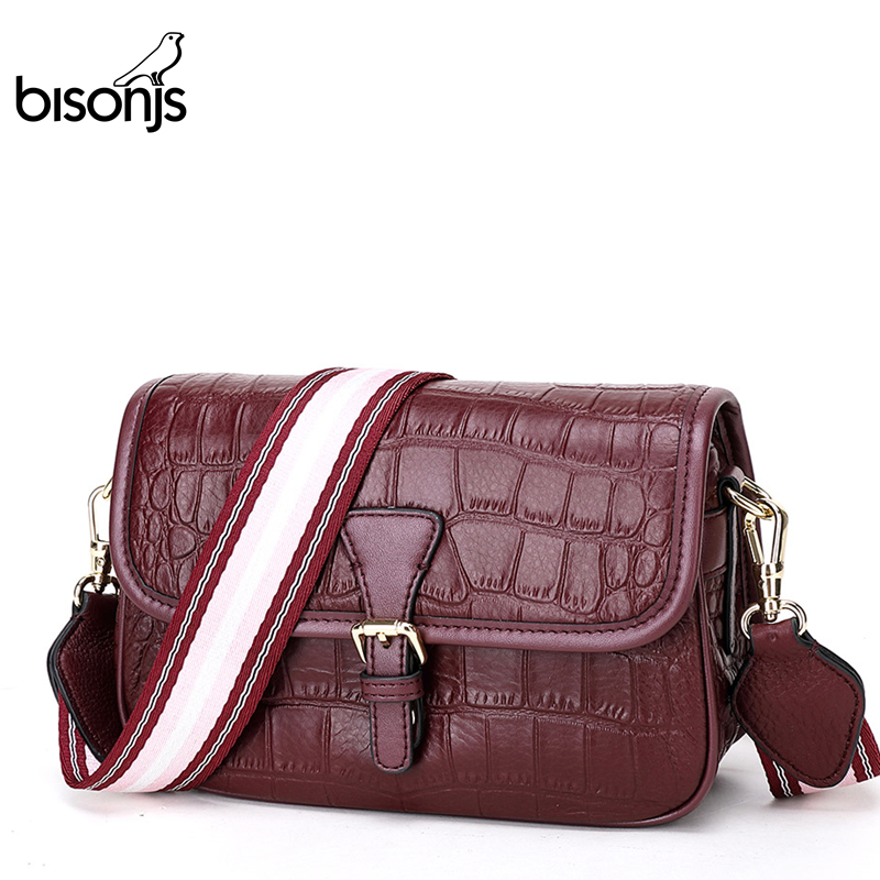 BISONJS Genuine Leather Women Bags Alligator Pattern Crossbody bags Luxury Ladies shoulder bags Women Bags Designer B1865