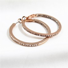 3.5CM Super Crystal Big Circles Hoop Earrings For Women Fashion Rose Gold Color Jewelry Big Round Circle Earring for Girls Party недорого
