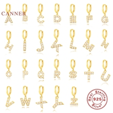 CANNER 1PC Earrings For Women Real 925 Sterling Silver 26 Letters Pearl Version Wild Earrings Hoops Zircon Diamond Gold Jewelry