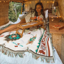 Tribal Blankets Indian Outdoor Rugs Camping Picnic Blanket Boho Decorative Bed Blankets Plaid Sofa Mats Travel Rug Tassels Linen