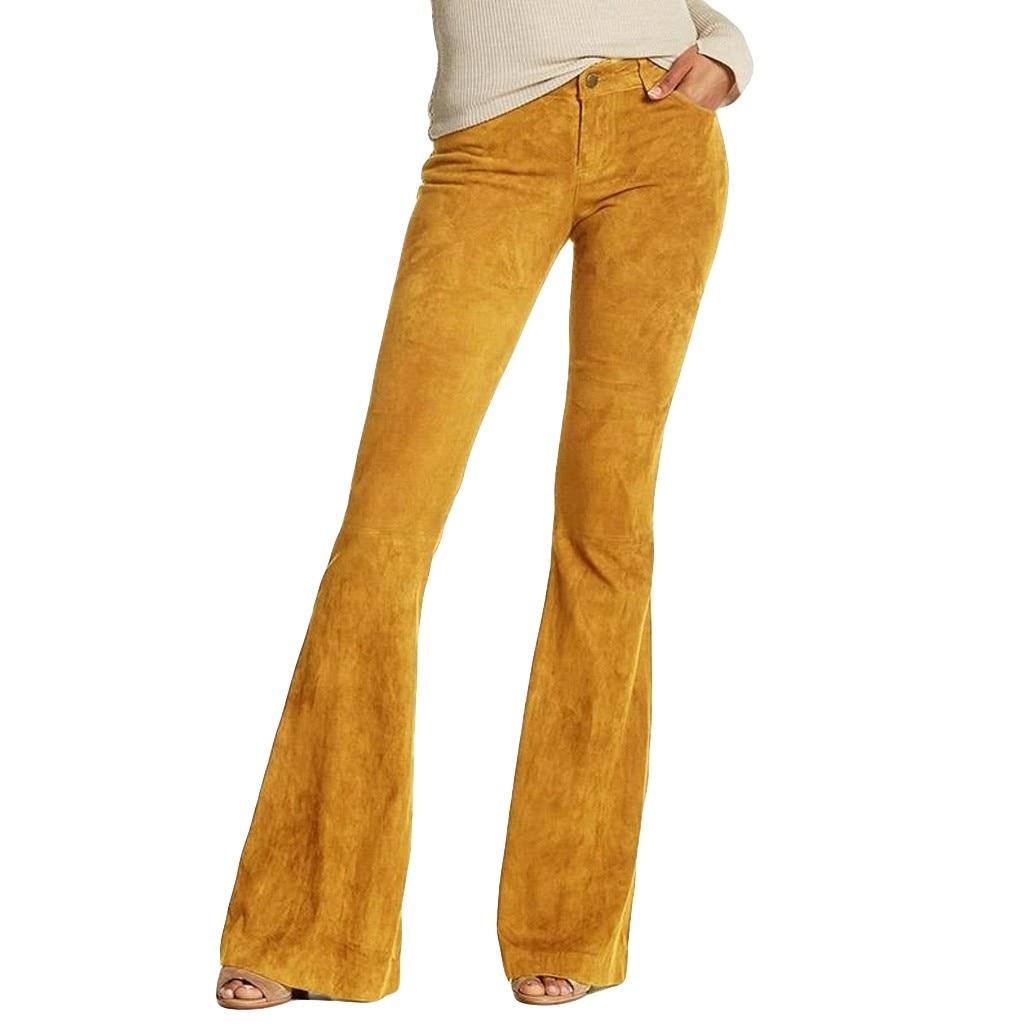 Vintage Women Retro Casual High Waist Solid Color Wide Leg Pants Bell-Bottom Trousers Fashion Faux Suede Women's Trousers S-5XL