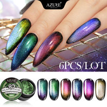 Modelones 6Pcs/Lot 9D Galaxy Cat Eye Nail Gel Polish Chameleon Magnetic Varnish Long Lasting Led Need Black Base