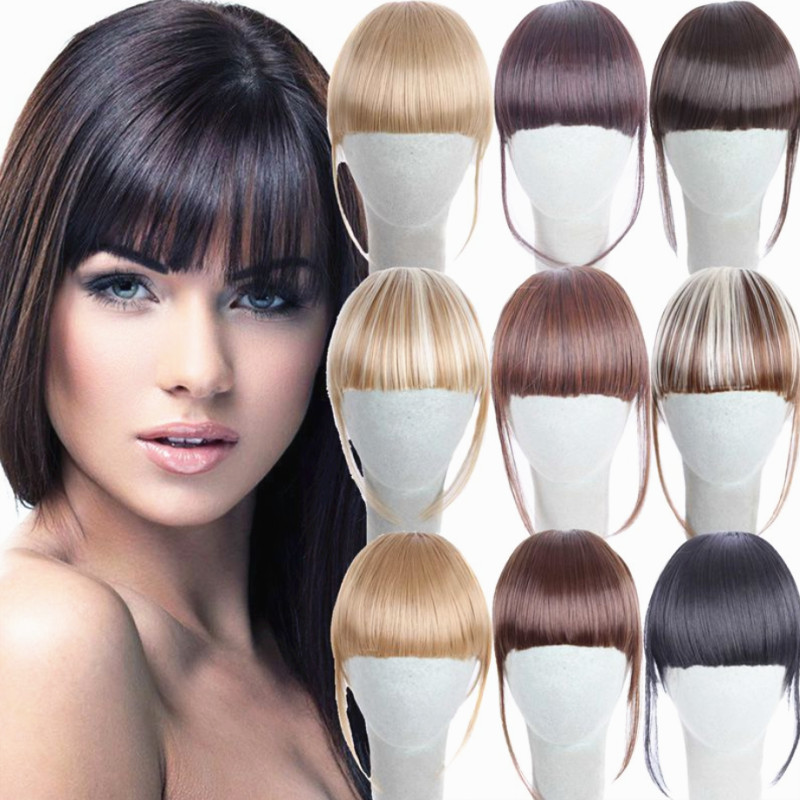 Short Front Neat Bangs Clip In Bang Fringe Hair Extensions Straight Synthetic 100% Real Natural Hairpiece