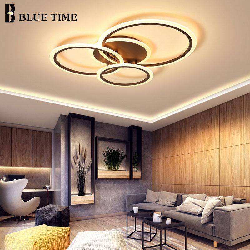 Cricle acrílico Moderno Levou Lustres de Casa sala de estar Quarto Iluminação Lustre de Teto Lamparas deco tecnologia Branco & Coffee