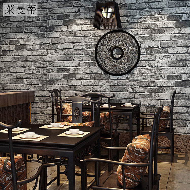 Chinese-Style Retro 3D Brick Wallpaper Thick Clothing Store Teahouse Brick Pattern Engineering Wallpaper