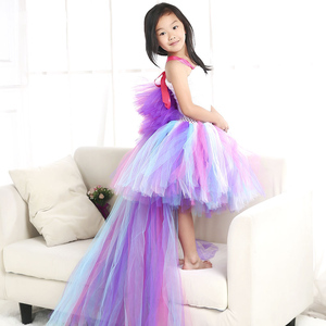 Image 3 - Girls Unicorn Rainbow Dress Halloween Costume Kids Party Tutu Dress with Long Tail Tulle Wing Little Horse Birthday Pony Dress