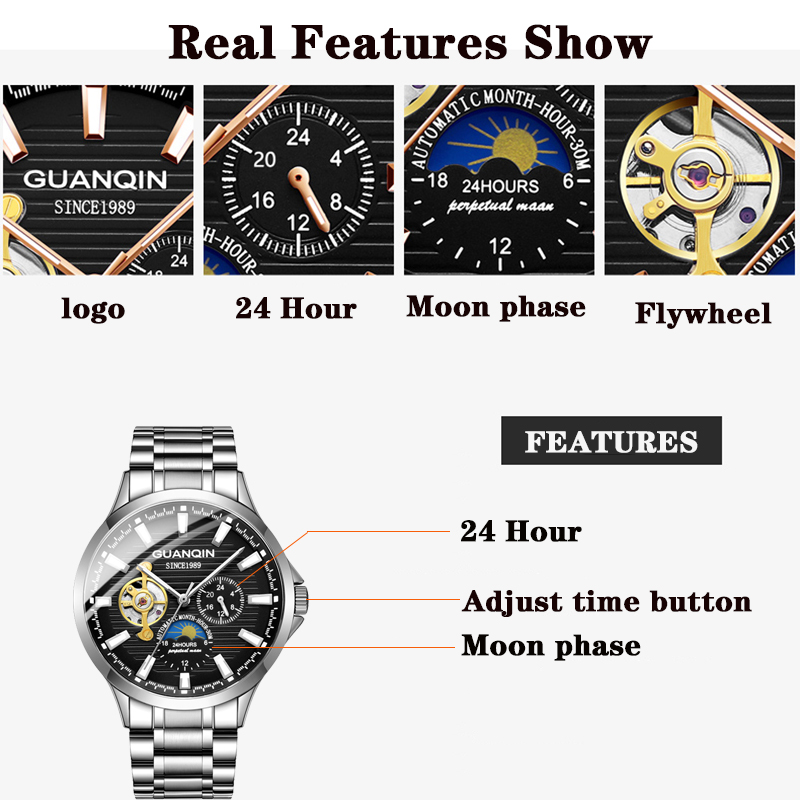 GUANQIN 2020 business watch men Automatic Luminous clock men Tourbillon waterproof Mechanical watch top brand relogio masculino 2