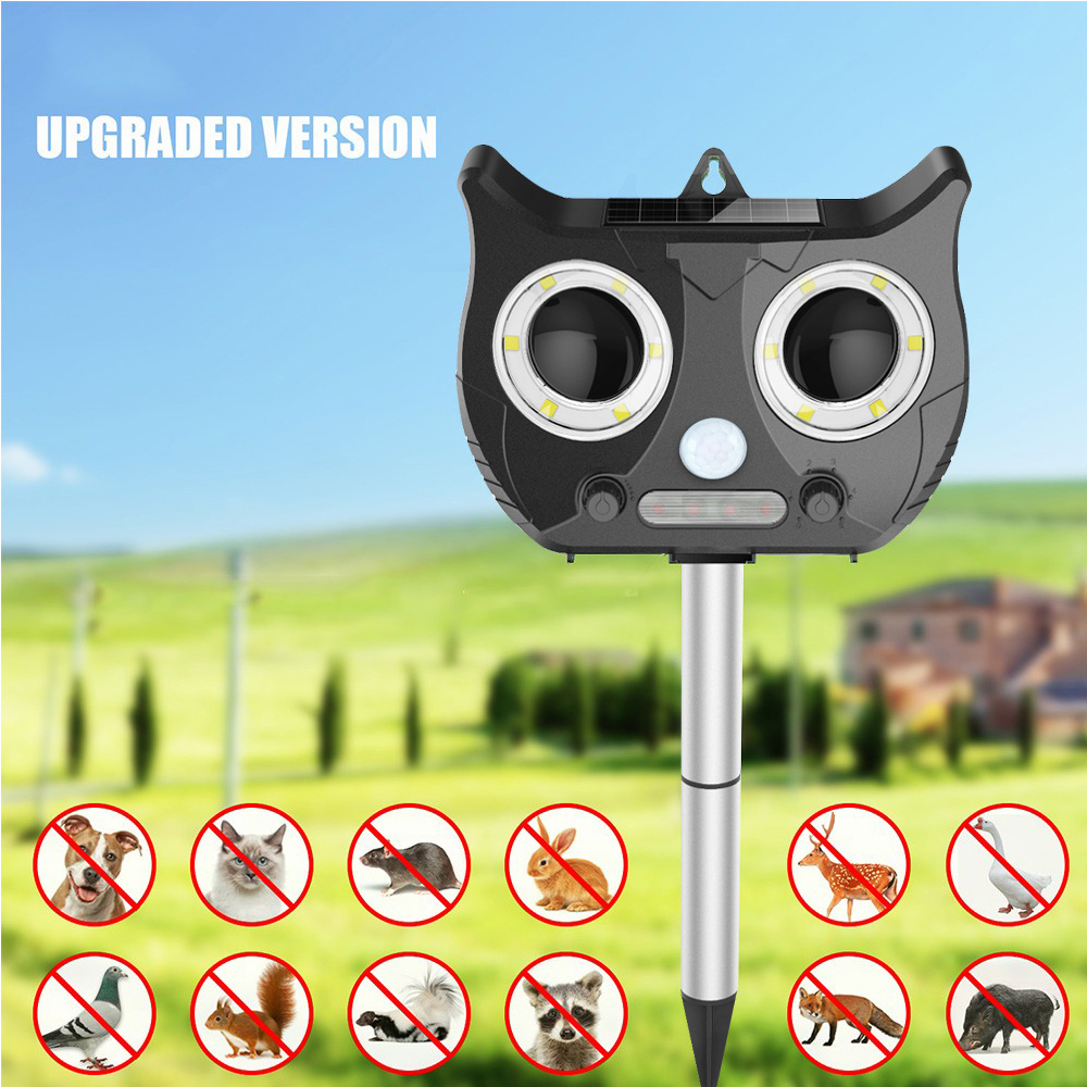 2019 New Solar Ultrasonic Animal Repeller Include 1500mAh Lithium Battery, Waterproof Pest Repeller Snake Cat Dog Bird Dispeller
