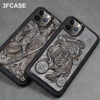 3D Carved Wood Case For iPhone 11 Case Luxury Ebony 11 Pro Back Cover Silicone TPU Coque For iPhone 11 Pro Max Case 11 Pro Funda