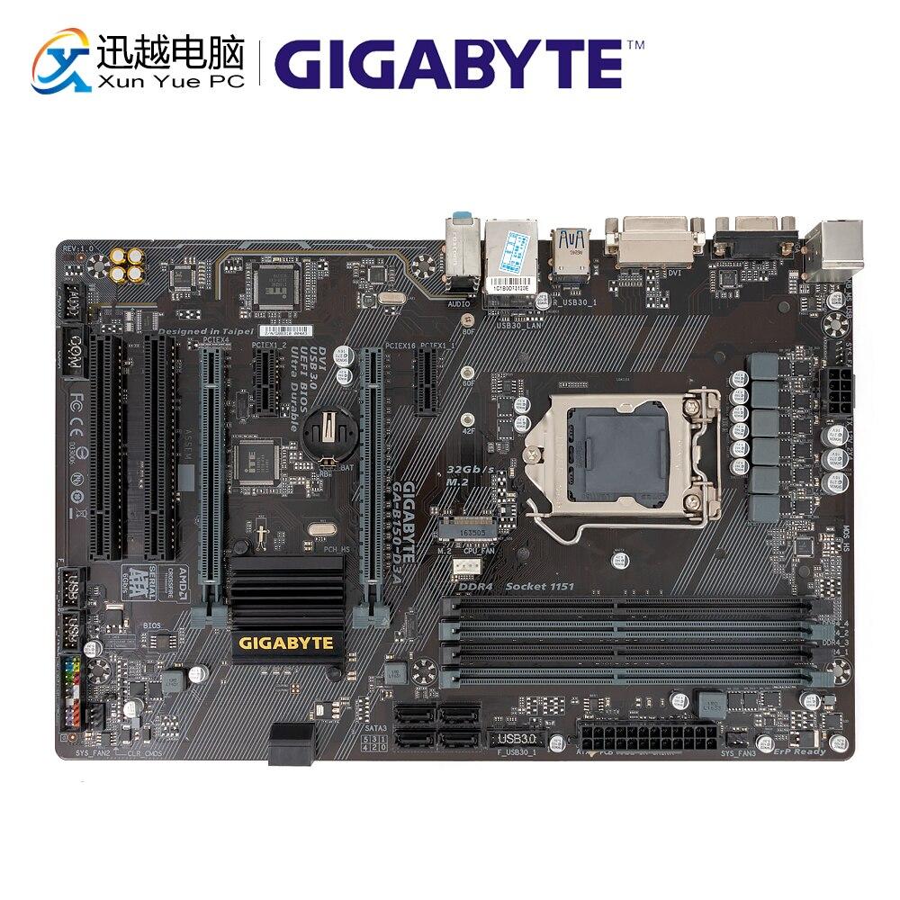 Gigabyte GA-B150-D3A Desktop Motherboard B150-D3A B150 LGA 1151 Core I7 I5 I3 DDR4 64G SATA3 USB3.0 VGA DVI HDMI M.2 ATX