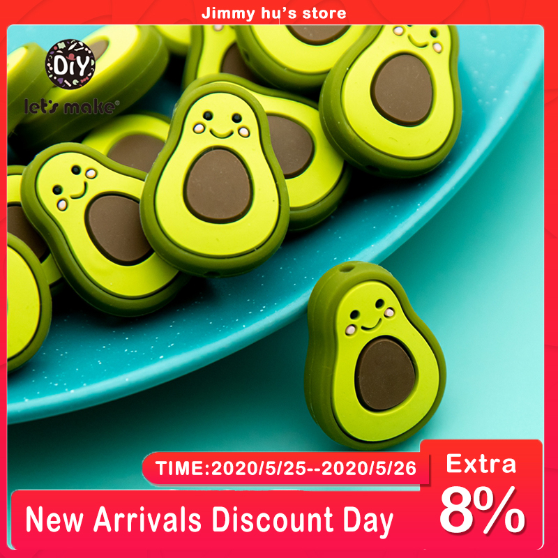 Let's Make 5pcs BPA Free Silicone Beads For Baby Teethers For Teeth Mini Avocado Baby Teething Necklace Newborn Gift Handmade