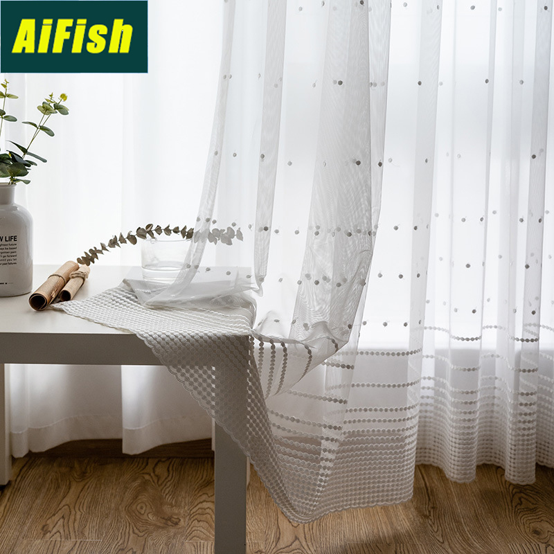 Modern Embroidery White Dots Tulle Curtains For French Door Kitchen Stripes Sheer Voile Curtain For Living Room Window M0922