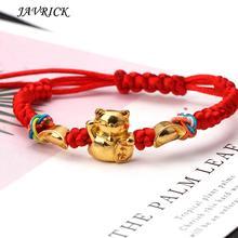 Lucky Kabbalah красный плетеный Золотой Фортуна кошка браслеты модные ювелирные изделия