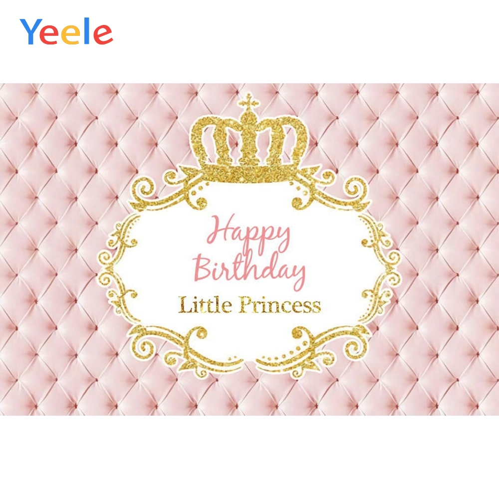 Pink Bed Headboard Gold Crown Princess Girl Happy Birthday Party Backdrop Photography Background For Photo Studio Photophone Background Aliexpress