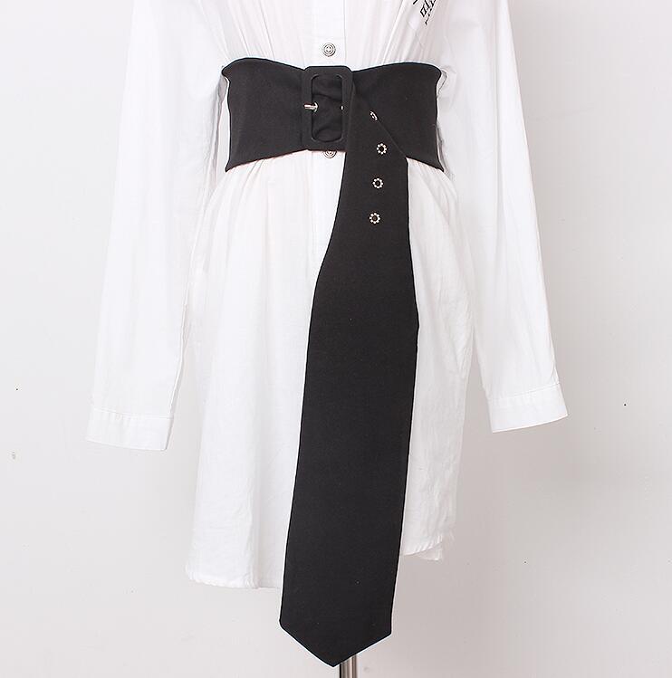 Women's Runway Fashion Fabric Long Cummerbunds Female Vintage Dress Corsets Waistband Belts Decoration Wide Belt R2167