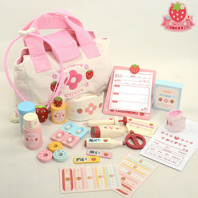 Girls Toys Strawberry Wooden Medicine Cabinet Toys Children Simulation Doctors Toys Pretend Play Educational Toys Gift
