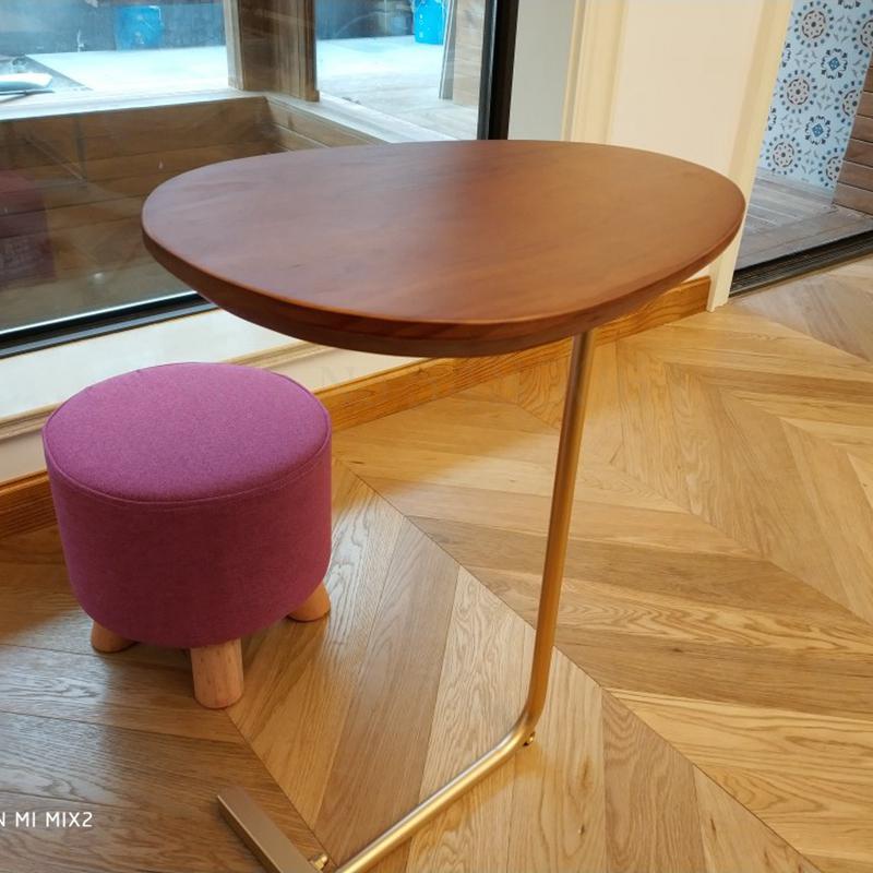 Креативный простой Овальный Маленький журнальный столик мобильный твердый деревянный железный диван угловой столик ленивый прикроватный ...
