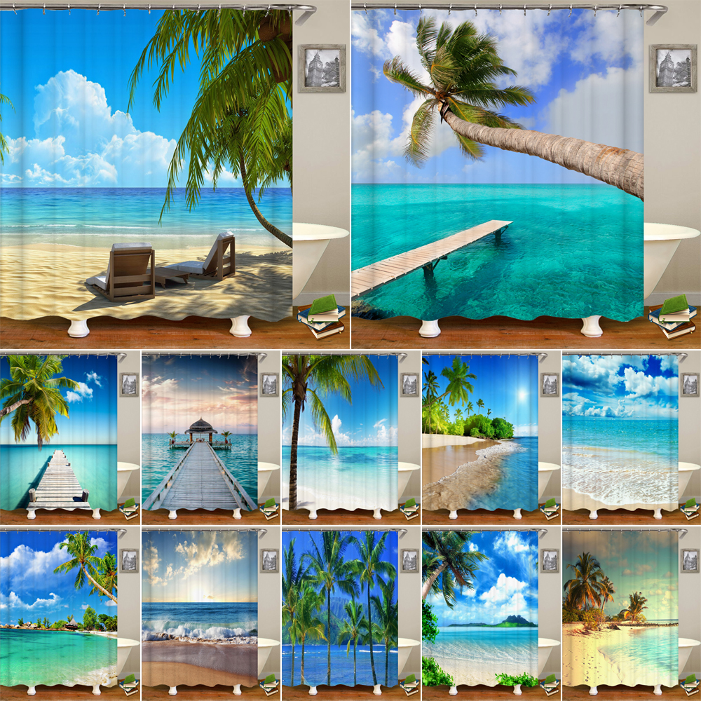 High Quality Sunny Beach Printed Fabric Shower Curtains Sea Scenery Bath Screen Waterproof Products Bathroom Decor With 12 Hooks