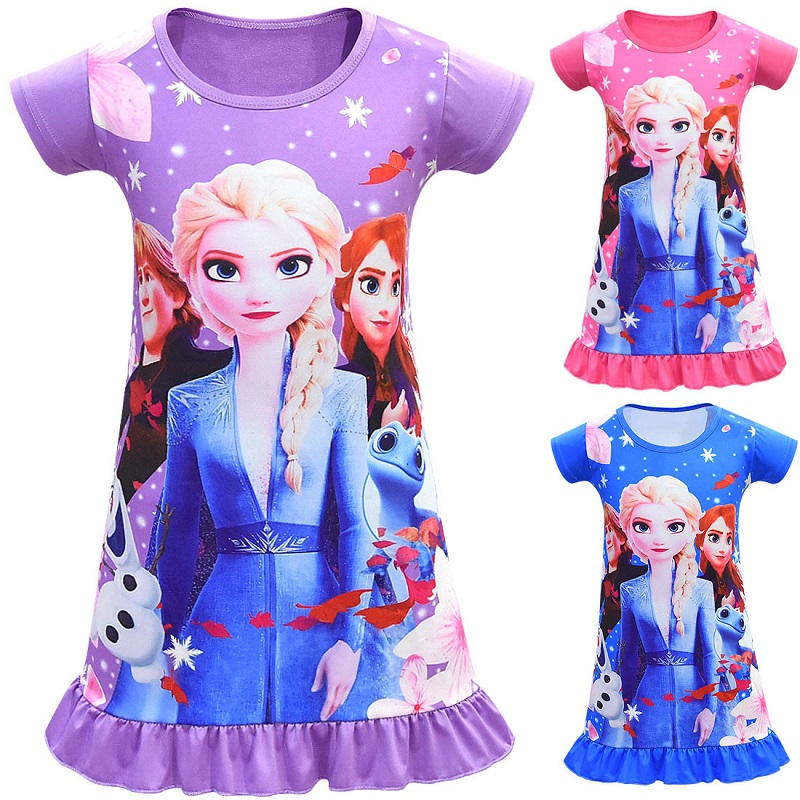 High Quality Elsa Anna Princess Dresses  Fashion Rainbow  Beach  Girls Dresses Fashion Knee-Length Outfit Clothes