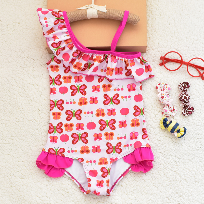2018 New Style KID'S Swimwear Women's Children 1-9 Girls Butterfly Printed One-Shoulder Sloping Shoulder Europe And America Tria