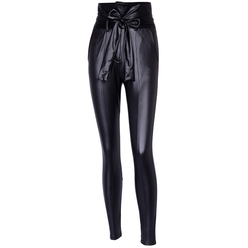 InstaHot Gold Black Belt High Waist Pencil Pant Women Faux Leather PU Sashes Long Trousers Casual Sexy Exclusive Design Fashion 28