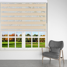 BERISSA Zebra Shades Cordless, Light Filtering Dual Layer Window Roller Blind, Sheer or Privacy Light Control, Day Night Drapes