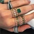 ZAKOL вечность Роскошные зеленые штабелируемые шикарные кольца для женщин женское кольцо для помолвки Дубай свадебное эффектное кольцо на па...