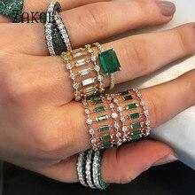 ZAKOL Eternity Luxury Green Stackable Chic Rings for Women Wedding Cubic Zircon Engagement Dubai Bridal Statement Finger Ring