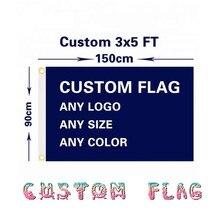 Bandeira personalizada qualquer logotipo/tamanho/cor 3x5ft/2x3ft/4x6ft voando bandeira 100d poliéster publicidade esportes decoração