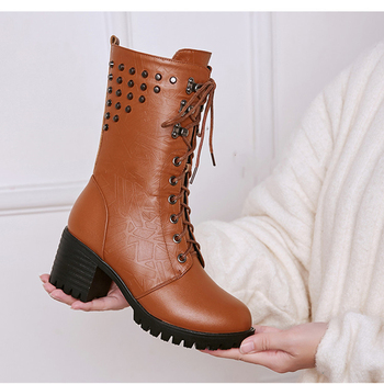 Genuine Leather Martn Boots Women Winter New Rivet Thick With Large Size 41 42 43 Wool In The Tube Motorcycle - discount item  37% OFF Women's Shoes