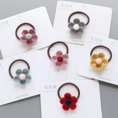 1 PCS Cute Five Petal Flowers Children Hair Ropes Elastic Rubber Hair Band Girls Hair Accessories Baby Headwear Kids Headdress