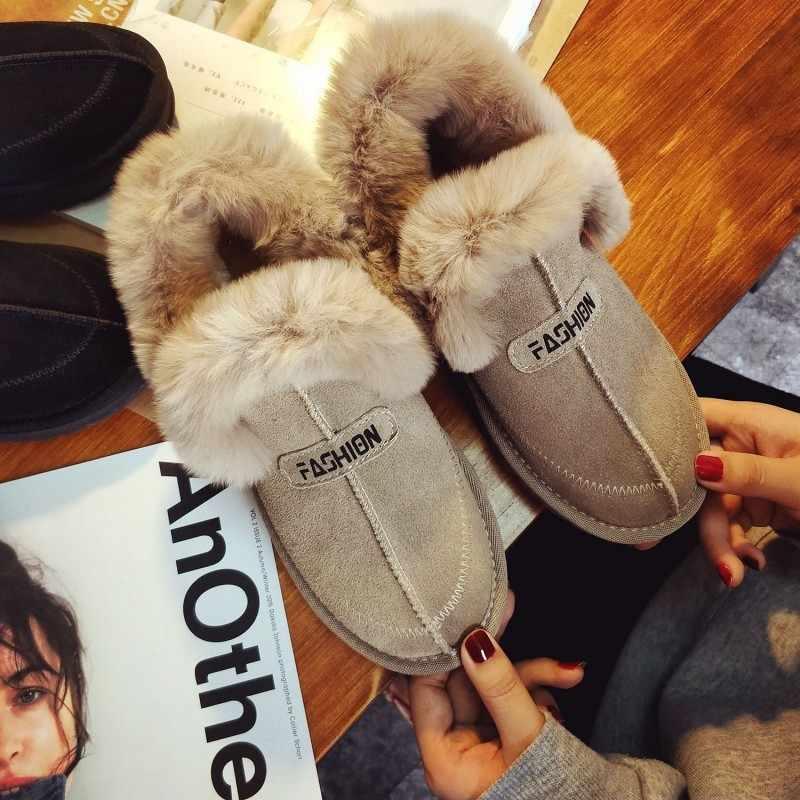 Moda kadınlar kış sıcak polar astar ayakkabı Kawaii tüylü kürk Faux süet deri üzerinde kayma loafer'lar konfor daireler ayakkabı mokasen