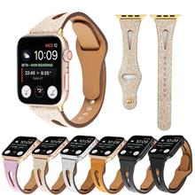 Glitter Leather Strap For Apple Watch Band 44mm 42mm 40mm 38mm Wrist Bracelet Straps For iWatch Series 5 4 3 2 1 Bands Accessory silicone double buckle sports watch straps for apple watch band 44mm 42mm 40mm38mm series 5 4 3 2 1 wrist bands for iwatch strap