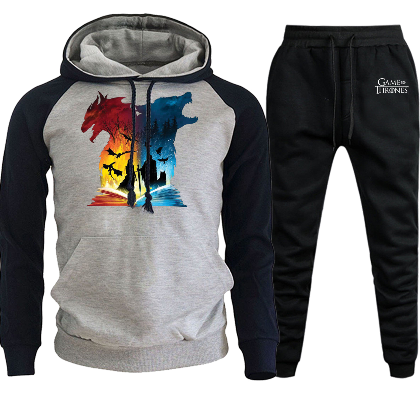 Casual Pullover Suit Male Hooded Autumn Winter 2019 Streetwear Raglan Mens Book Of Fire And Ice Fleece Hoodies+Pants 2 Piece Set